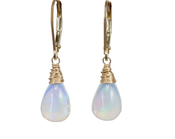 Fine Opal Teardrop Earrings- Solid 14k Gold- Natural Ethiopian Opal Gemstone- October Birthday Birthstone Women's Fine Jewelry Gift