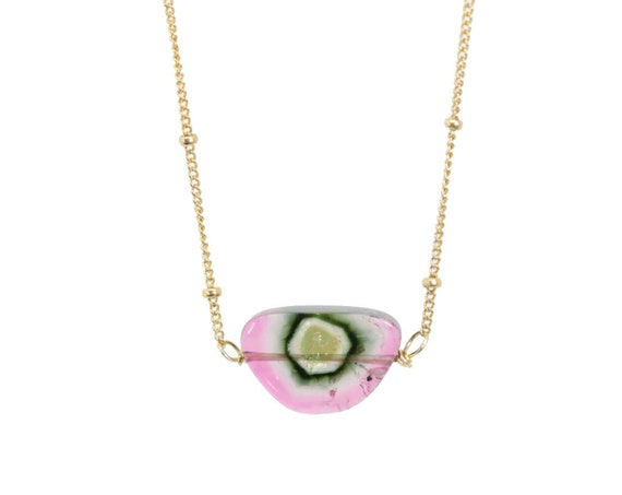 Watermelon Tourmaline Slice Pendant Necklace- Women's Jewelry October Birthstone Birthday Gift Idea- Women's Jewelry