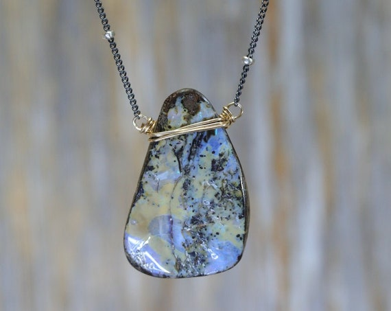 Large Raw Boulder Opal Pendant Necklace- Sterling Silver- Mixed Metal