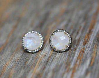 85f1276af Moonstone Pave Diamond Round Stud Earring * Large Moonstone Circle Post * Oxidized Sterling Silver and Gold* genuine Diamond* Halo diamond