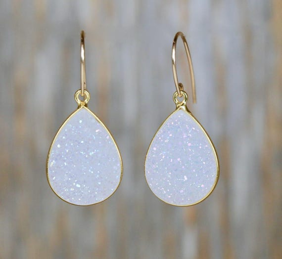 WHITE DRUZY EARRING bridal earring wedding jewelry white druzy gemstone earrings large druzy earrings wedding gift for her white gemstone