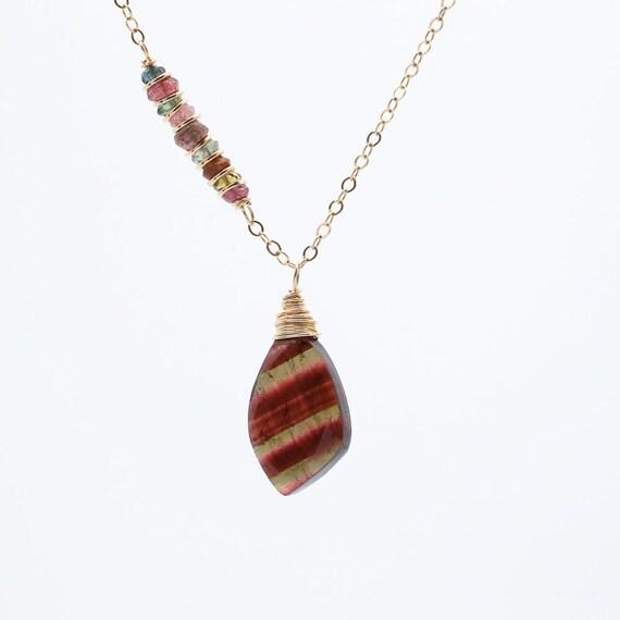 Tourmaline Watermelon Striped Pendant Necklace
