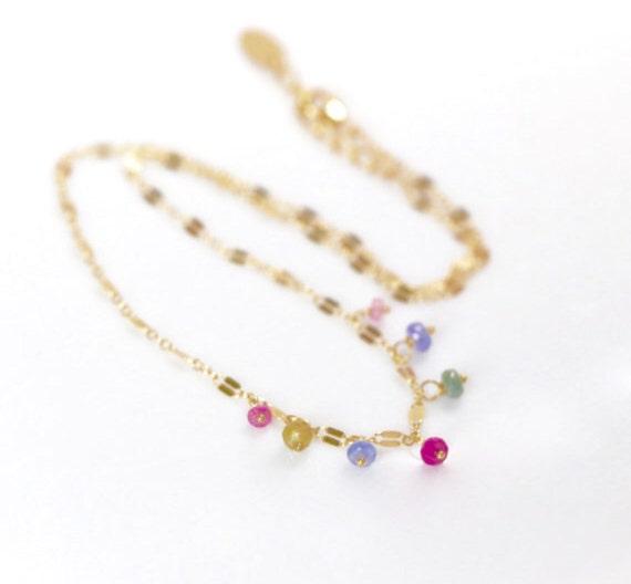 Multi Gemstone Dainty Gold Choker Necklace