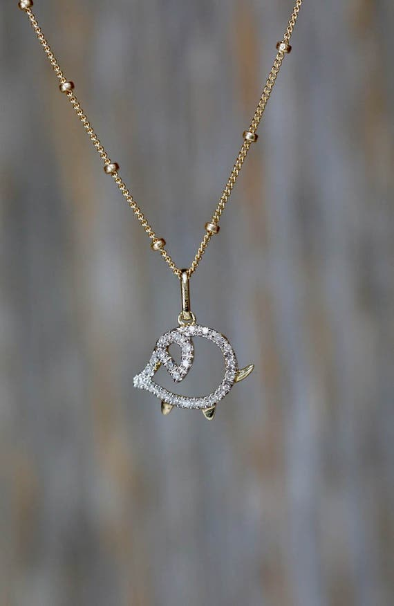 pave diamond pig lover necklace-charitable donation