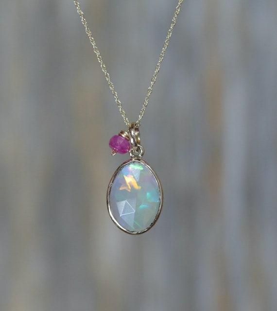 Ethiopian Opal Pendant Necklace* Rose Cut Opal Gemstone-14k gold* bezel set* Women's Jewelry Gift October Birthstone* Ruby Accent