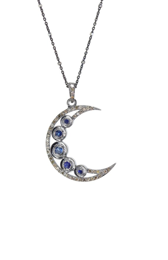 Blue Sapphire Crescent Moon Necklace September birthstone September birthday gift for her Diamond Moon Large Moon Pendant necklace