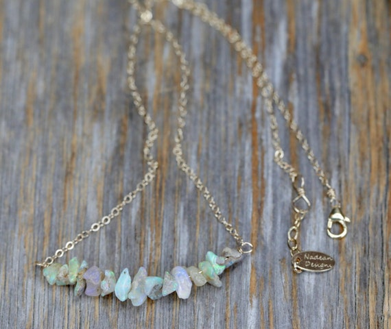Raw Opal Bar Necklace* 14k gold filled * wedding *boho layering opal gemstone necklace* October birthstone birthday gift for her