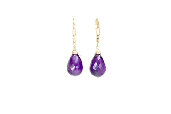 Amethyst Gemstone Teardrop Earrings* amethyst earring* February birthstone* purple stone* African amethyst*large teardrop gold earrings*Gift