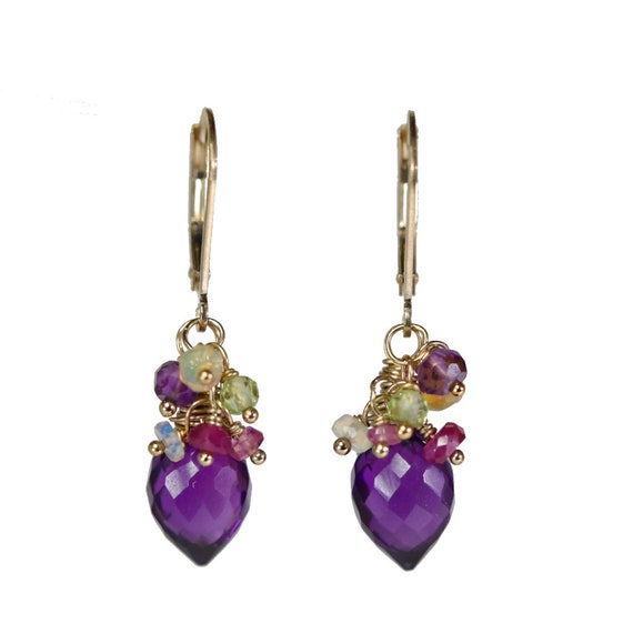 Amethyst Cluster Earrings* amethyst earring*February birthstone birthday gift for her*purple stone*African amethyst*Women's bouquet earring