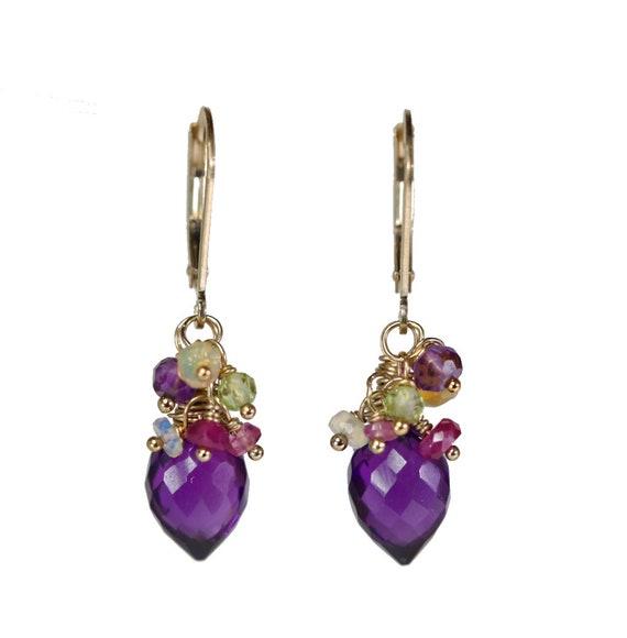 Amethyst Cluster Earrings* amethyst earring*February birthstone birthday gift for her*purple stone*African amethyst*Women's bouquet earring