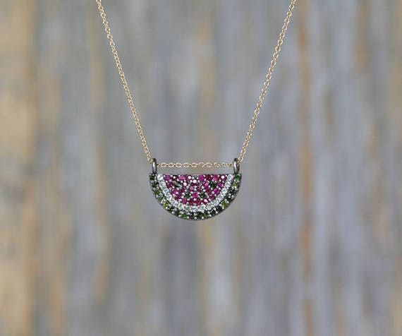 Watermelon Shaped Necklace-Pave Fruit Necklace-Pave Tourmaline Gemstone-Oxidized Sterling Silver-Fruit Trend-Genuine Tourmaline