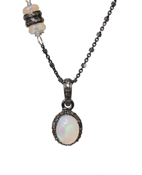 Opal Diamond Oval Pendant Necklace* Ethiopian white and semi-black opals* sterling silver* pave diamonds* asymmetrical *October birthstone