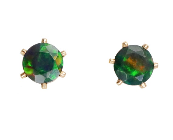 Black Opal Stud Earring-Real Ethiopian Welo Opal-14k Gold Filled Prong Stud-5mm Opal Earrings-October Birthstone-