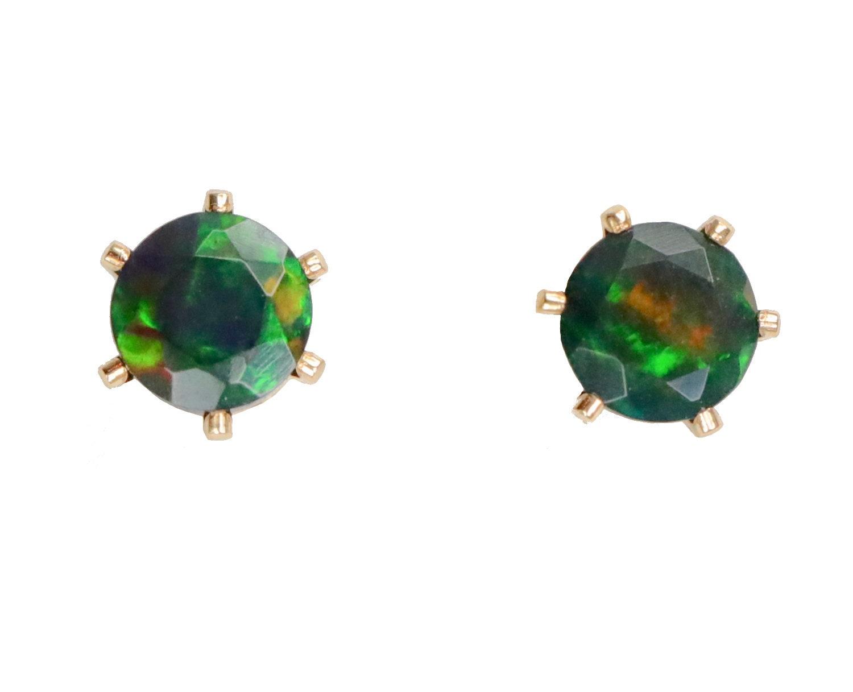 d374495f3 Black Opal Stud Earring-Real Ethiopian Welo Opal-14k Gold Filled Prong  Stud-5mm Opal Earrings-October Birthstone-