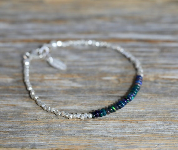 Black Opal Gemstone* Sterling Silver Genuine Opal Beaded Wrap Bracelet- October Birthstone Birthday Women's Jewelry Gift Idea