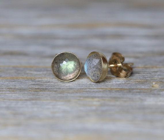 Blue-Green Labradorite Stud Earring Faceted Labradorite Gemstone Gold Round Stud Gift Idea For Her Labradorite Earring