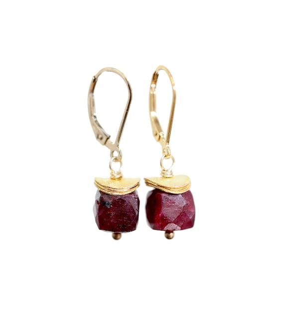 Ruby Gemstone Cube Earrings