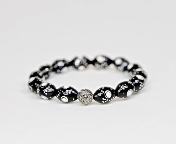Egyptian prayer bead bracelet pave diamond oxidized silver kuka bead boho stack bracelet exquisite quality pave diamond camel bone bracelet
