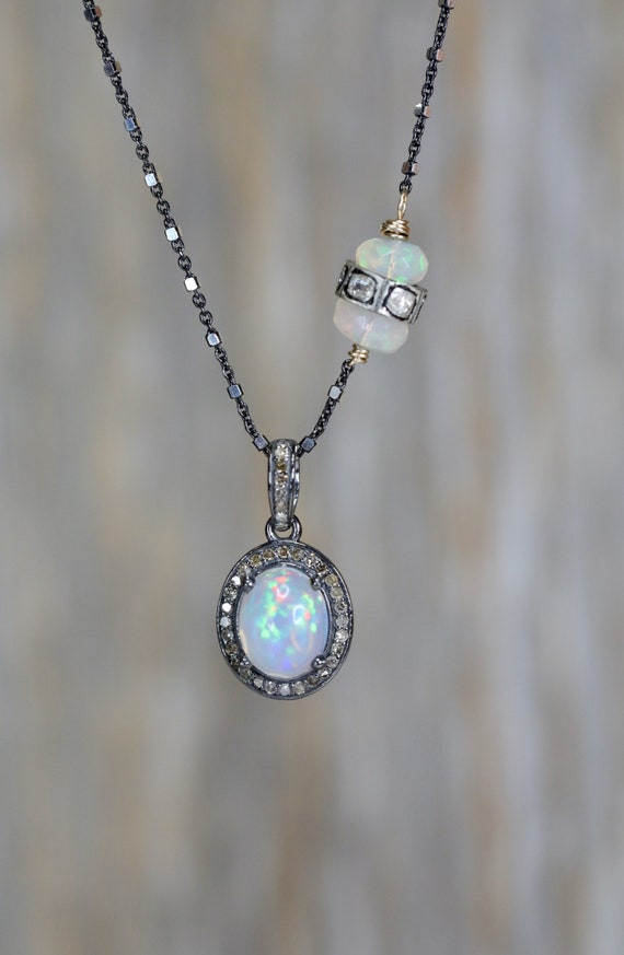 Opal Diamond Oval Pendant Necklace* Ethiopian opal* sterling silver* mixed metal* rose cut pave diamonds* asymmetrical *October birthstone