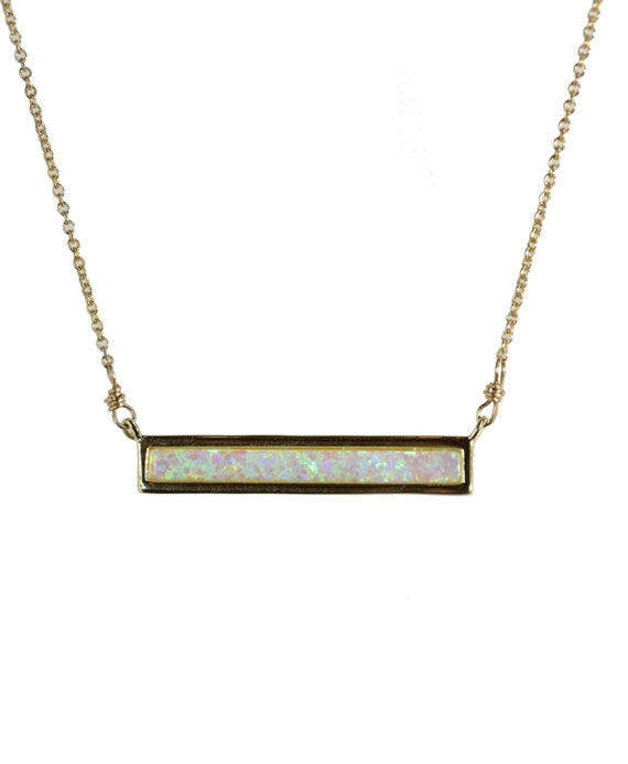 White Green Aqua Pink Opal Bar Necklace*Gold Vermeil* 16-inch Length, Multicolor, October Birthstone Gift Idea for Her
