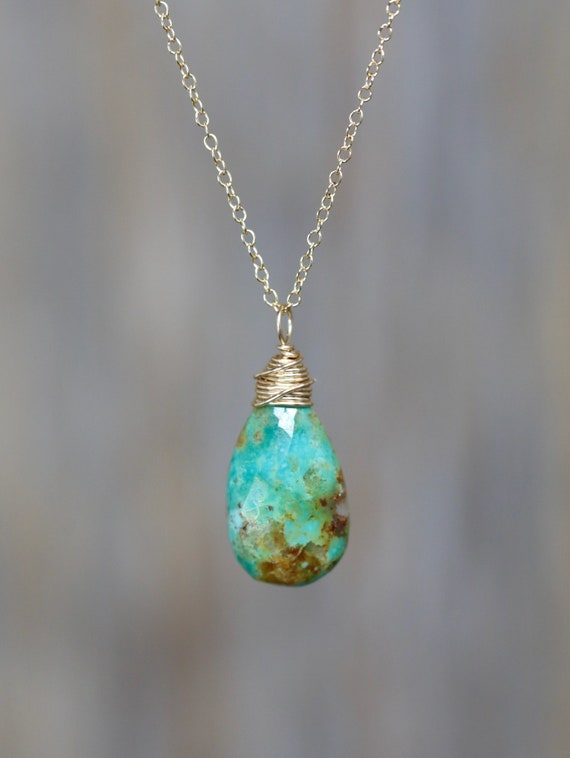 Turquoise Drop Necklace- Arizona Kingman Turquoise Briolette Necklace- 14k Gold Filled- Gift Idea for Her Mother's Day