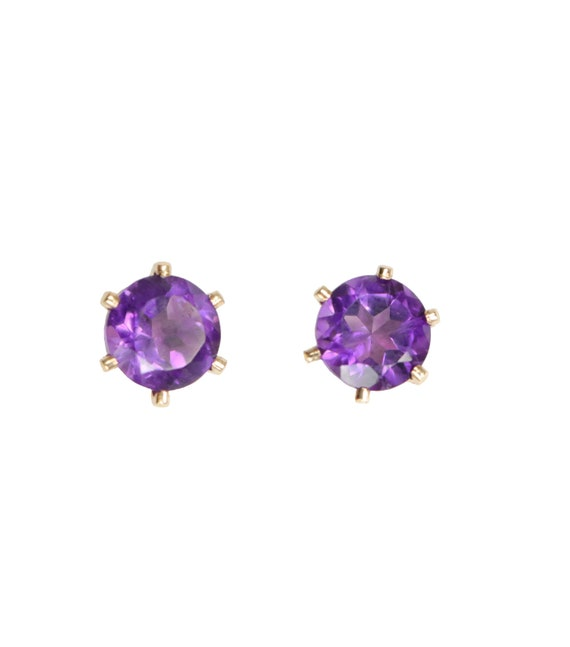 Amethyst Gemstone Stud- 14k gold Filled- Prong stud - 5mm - February Birthstone Earring- February Birthday Gift Idea