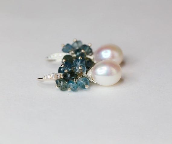 Pearl earring pearl drop earring blue gemstone moss aquamarine earring wedding bridesmaid earring gifts for her classic pearl earring