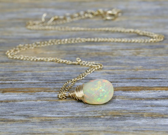 14k Gold Fire Opal Necklace Genuine Opal Gemstone