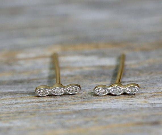 14k Gold Genuine Diamond Bar Stud earring*Three diamond bar stud earring* Gift Idea for Her
