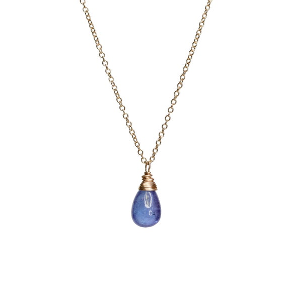 Tanzanite Necklace Tanzanite Pendant Tanzanite Teardrop Necklace Tanzanite Gemstone Gold  Gift for her December birthstone December birthday