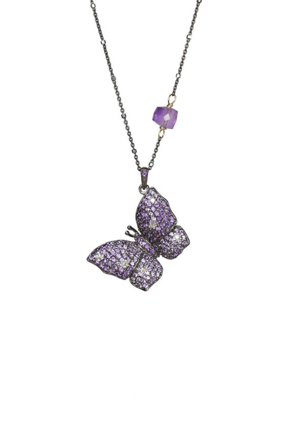 Pave Amethyst Butterfly Pendant Necklace Unique Mother's Day Gift for Her pave diamond Butterfly necklace oxidized sterling silver Mom