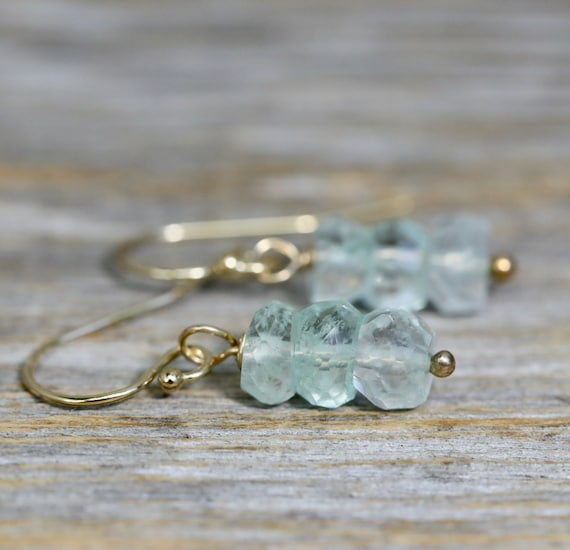 Aquamarine Stack Earrings * 14k Gold Filled * Genuine Aquamarine Gemstones * March Birthstone * Women's Jewelry * Gift Idea