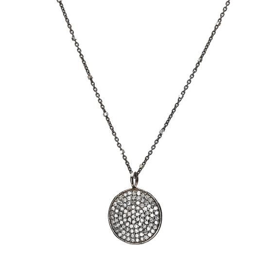 Pave diamond round disc necklace diamond circle pendant oxidized silver simple modern elegant gift for her genuine diamond necklace pave