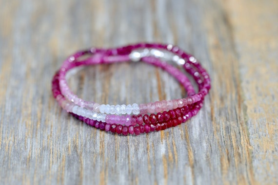 Ombre Ruby Gemstone Wrap Bracelet