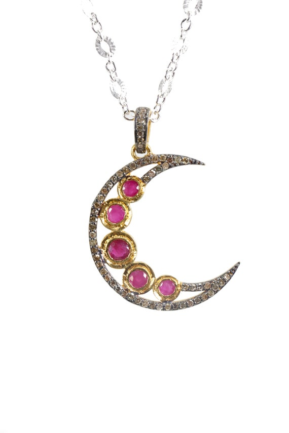 Ruby Moon Necklace Pave Diamond Crescent Moon* Mixed Metal Oxidized Sterling Silver*Rose Cut Rubies* Birthstone* Gift for Her Valentine's