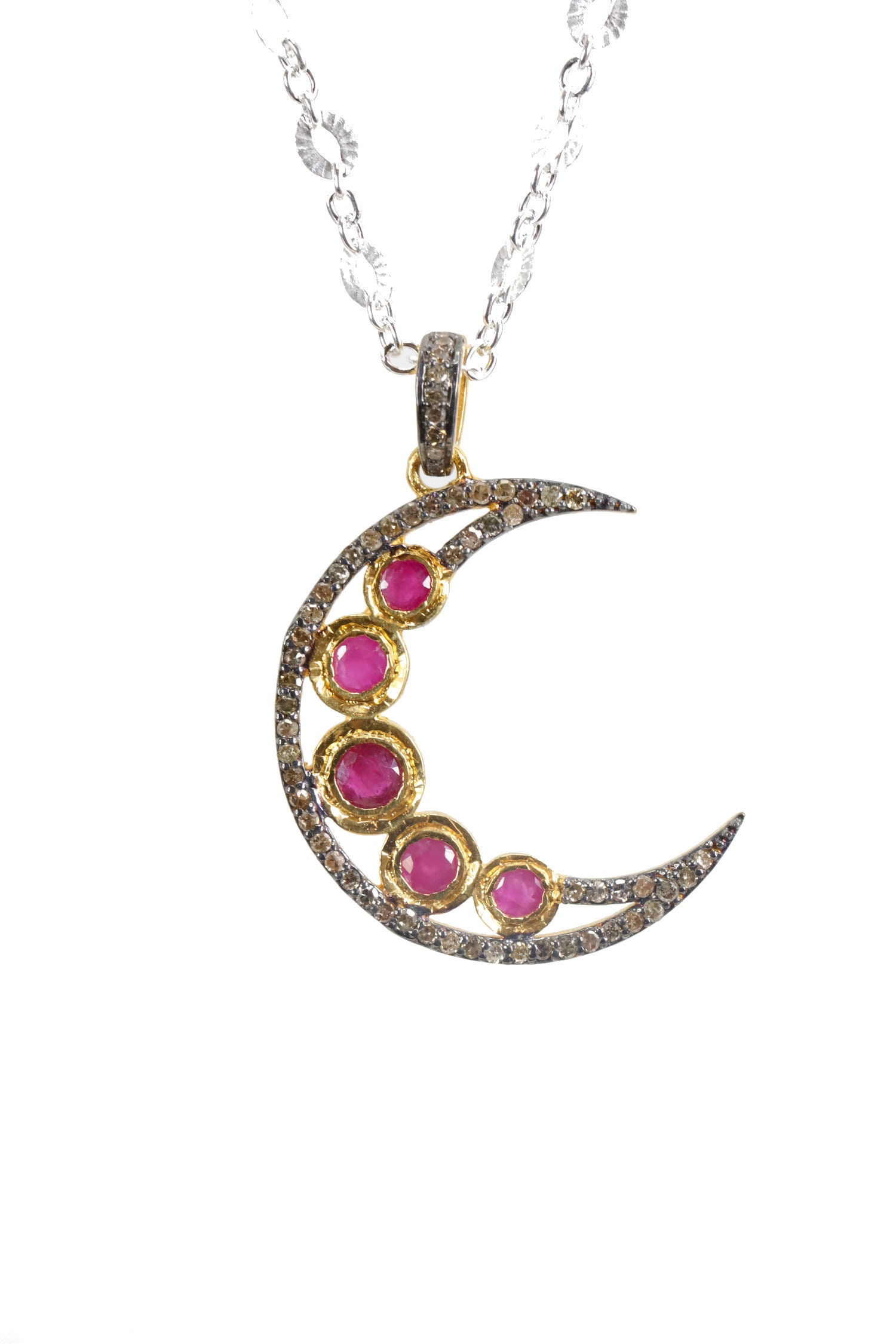 3babdbcbaec3a Ruby Moon Necklace Pave Diamond Crescent Moon* Mixed Metal oxidized ...