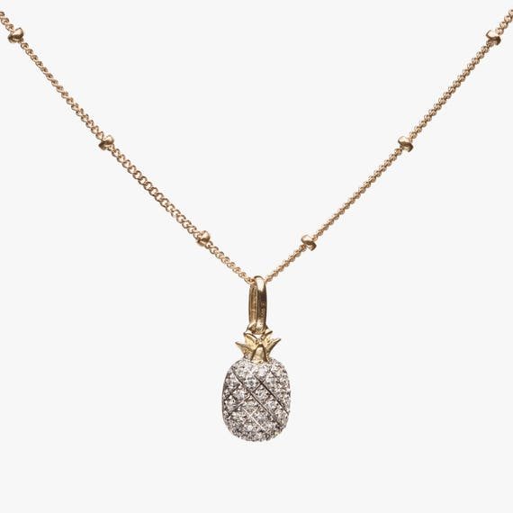 Diamond Pineapple Pendant Necklace pineapple necklace white diamond pineapple gold pineapple 14k gold solid gold yellow gold gift for her