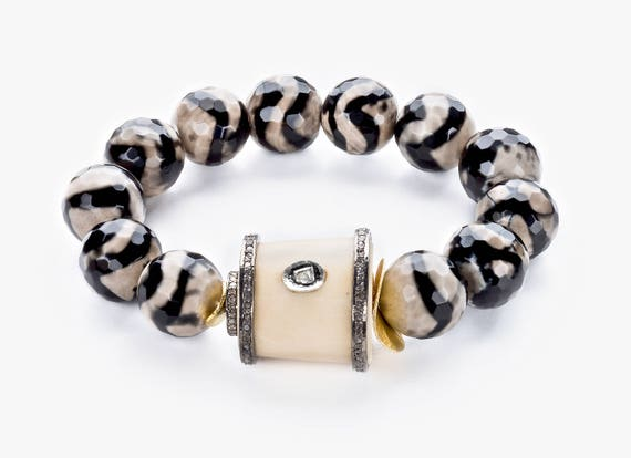 diamond elk antler bracelet striped agate pave diamond oxidized silver boho stack bracelet rose cut diamond elk antler focal gift for her