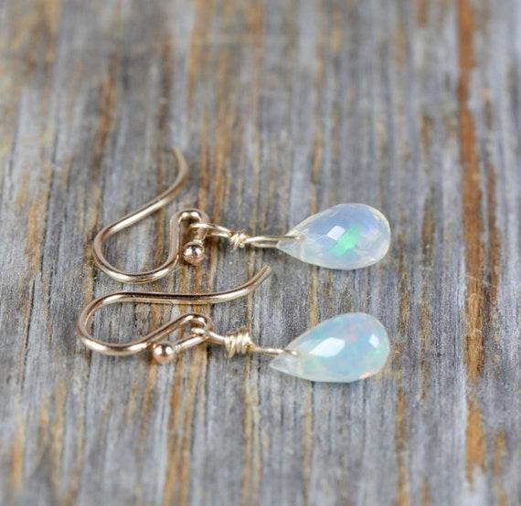 Opal Teardrop Earrings-Ethiopian Welo Opal-October Birthday Gift-Ethiopian Opal Earrings- 14k Gold Filled Yellow