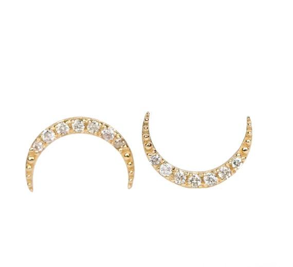 Diamond Crescent Moon Stud 14k Rose Gold post earring gift for her white diamond half moon stud earring