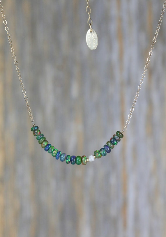 Black opal bar necklace rough raw white diamond smooth finest quality Ethiopian opal October birthstone gift for her dainty opal neck