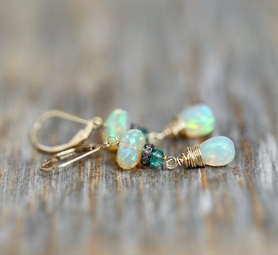 Fire Opal Diamond Emerald Earring- Genuine Ethiopian Opal-Zambian Emerald-Pave Diamond-14k Gold Filled- Graduation -Mother's Day- Wedding
