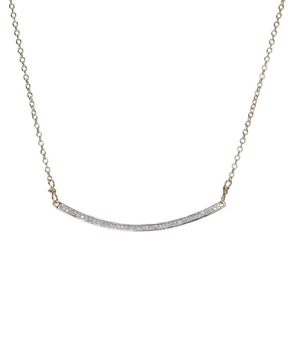 Ctrescent Diamond Bar Necklace White Pave Diamond Curved Bar Necklace 14 karat gold bar choker Necklace
