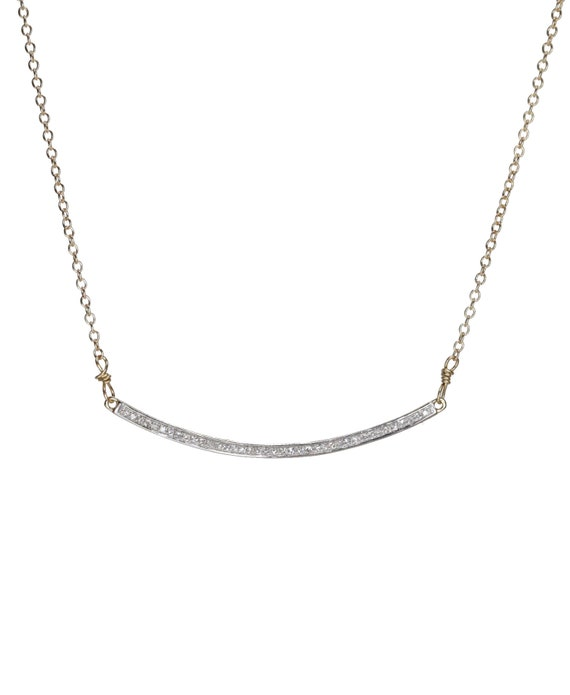 14k gold Curved Diamond Bar Necklace- white diamonds- 14k yellow gold- Smile Necklace Crescent Gift for Her- Holiday Gift Idea