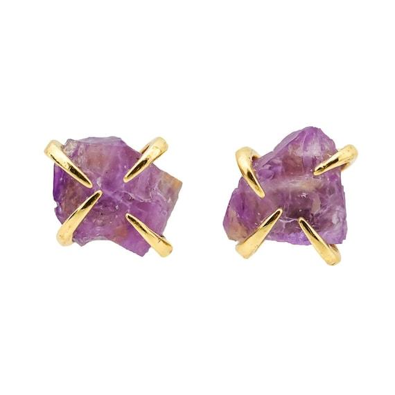 Raw Amethyst Prong Stud Earring * February Birthstone *February birthday Gift For Her* Simple Modern Elegant Boho Earthy* healing crystal