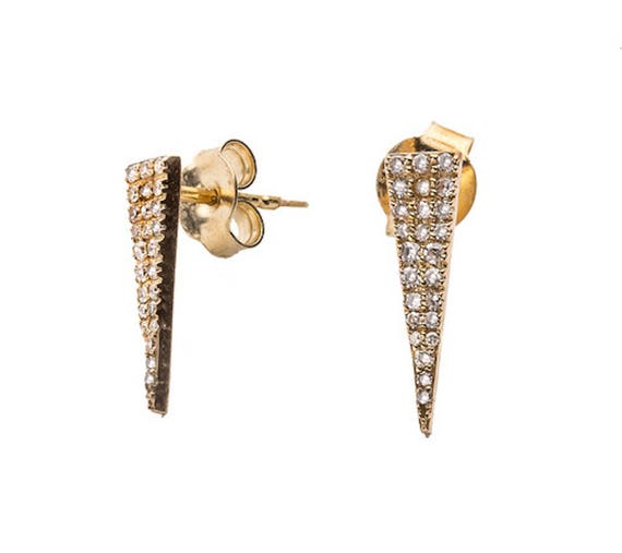 Geometric Triangle Solid Gold White Diamond Stud Earrings