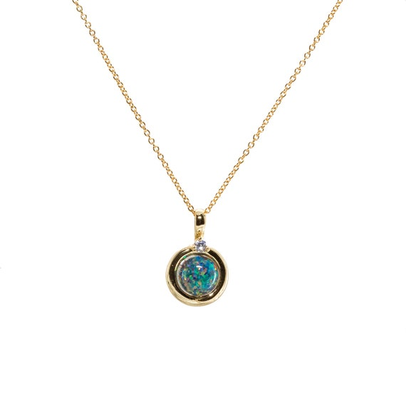 Black Blue Opal- Round Circle Pendant Necklace-14k gold filled- Holiday Gift Idea- Women's Jewelry- Stocking Stuffer