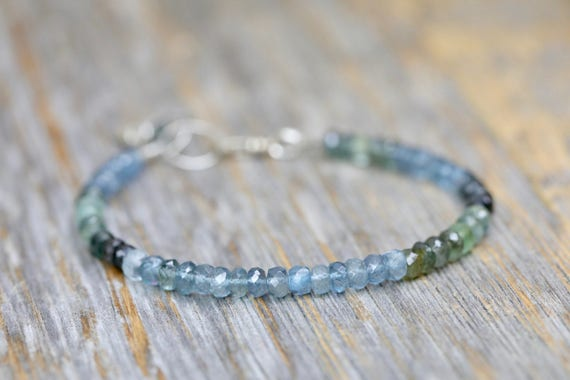 Moss Aquamarine Bracelet Shaded Ombre Aquamarine Bracelet March Birthstone March Birthday Gift For Her sterling silver beaded bracelet boho