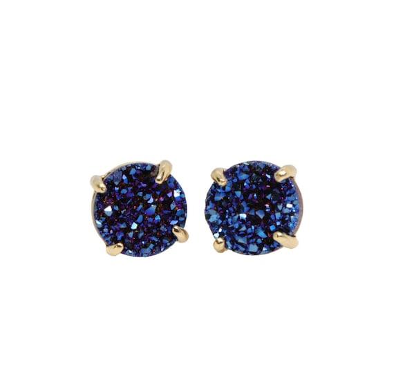 Blue Druzy Stud Earring Genuine Druzy Quartz Gemstone Post Earring- Prong Setting- 6mm OR 8mm