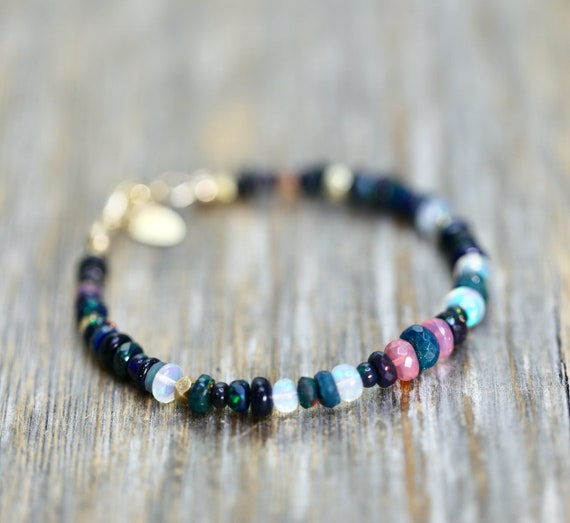 Opal Bracelet - Black White Pink smooth and faceted opal gemstones- Holiday Gift for Her Women's Ethiopian Opal Beaded Bracelet